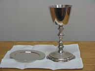 Wine chalice and bread patten for Eucharist
