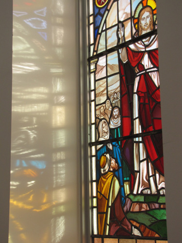 Stained glass window of Jesus Christ at Church of the Ascension