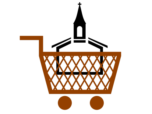 Cartoon of a church building in a shopping cart