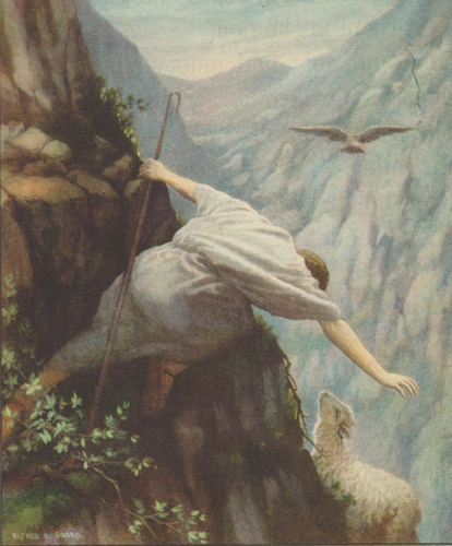 Shepherd reaching for lost sheep on mountainside