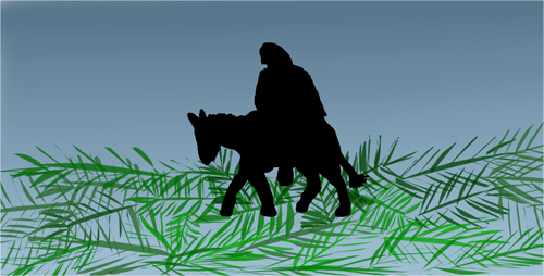 Jesus riding on a donkey over palm branches