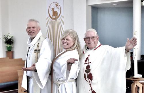 Reverend Jim Garey, honourary associate; Reverend Canon June Hough, rector; Reverend Bruce Pocock honourary associate