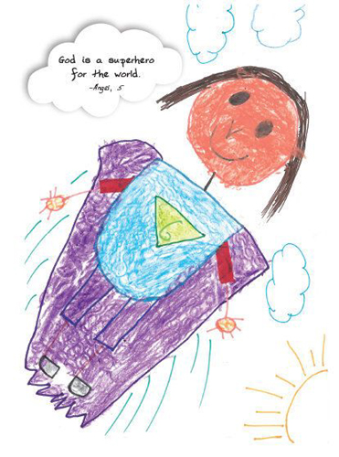 """Child's drawing of God: """"God is a superhero for the world."""""""