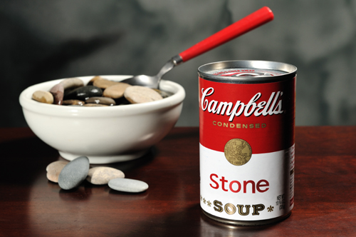 Mock can of Campbell's condensed stone soup