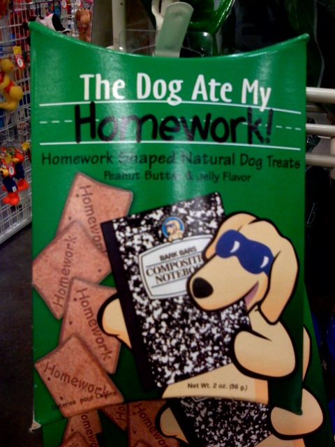 The Dog Ate My Homework brand of homework-shaped natrual dog treats
