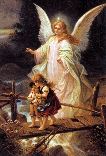 Blond-haired angel helping two children over a rickety bridge
