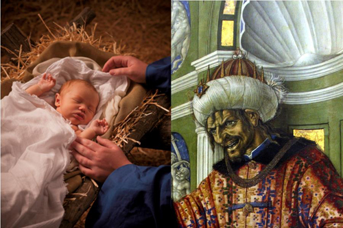 Two kings: Baby Jesus in the manger and Herod the Great
